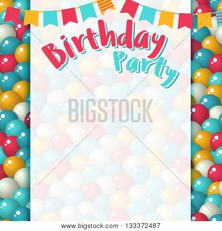 Greeting card template - Colorful pattern with a lot of gumballs mixed colors. Vector birthday background. Bright game background with glossy balls.