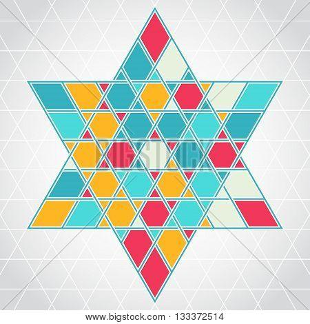 Traditional oriental tangled six-rays star symbol. Jewish star Magendavid - Star of David. Vector illustration. Colorfur patterned geometric background.
