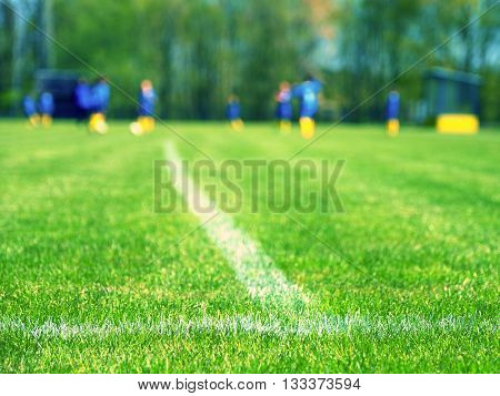 Closeup View To White Lines On  Football Playground. Detail Of A Cross Of Lines