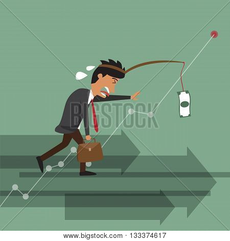 business man lazy but use money for motivation business man failure vector illustration.