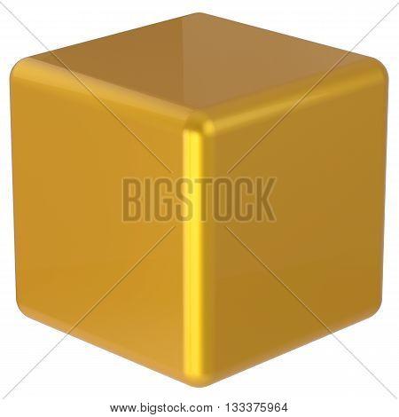 Cube box yellow golden simple minimalistic geometric shape square brick figure block basic solid dice glossy element single shiny blank object. 3d render isolated