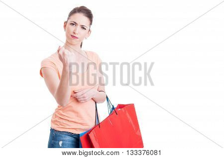 Angry Woman Holding Shopping Bags Showing Fist Gesture