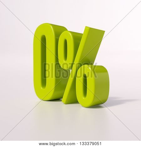 3d render: green 0 percent, percentage sign on white, 0%