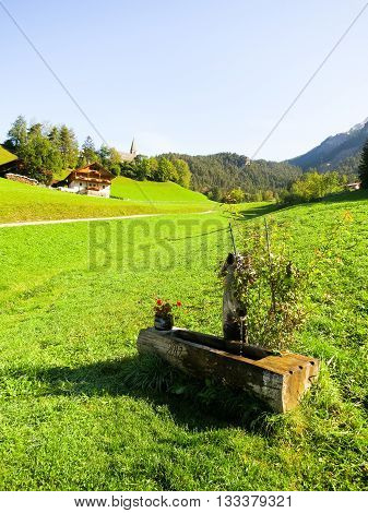 Drinking Fountains in Santa Maddalena, Autumn, in the Morning, South Tyrol (Italy)