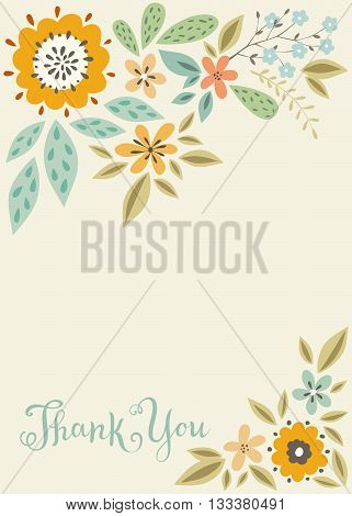 Vector vertical floral thank you card template.