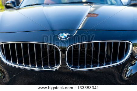 ATLANTA GEORGIA - May 1 2016: Caffeine and Octane is a nationally recognized car show held monthly displaying hundreds of classic and muscle cars at Perimeter Mall. BMW grille and logo.