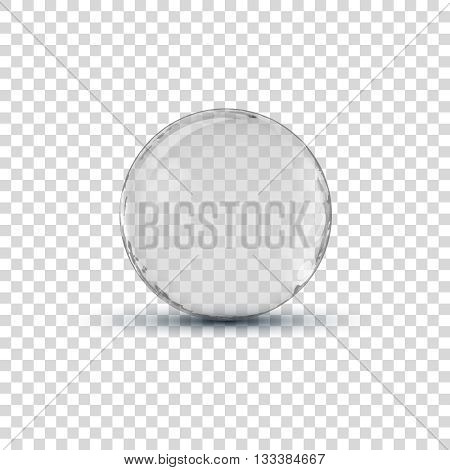 Big white transparent glass sphere ball with glares and shadow.