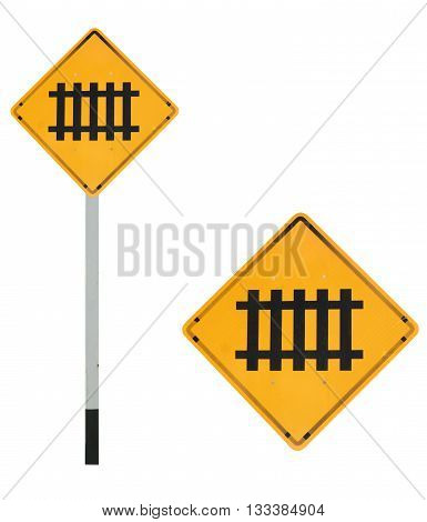 train ahead traffic sign isolated on white color background