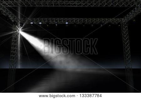 Empty Stage Spotlit