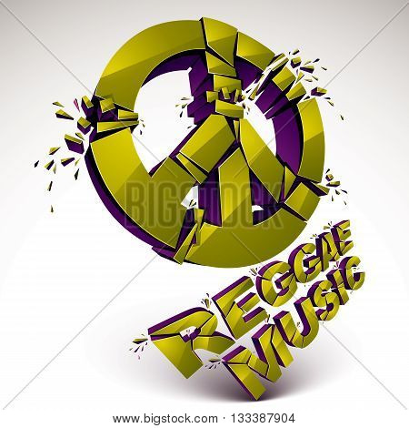 Green 3d vector peace sign created from refractions isolated on white. Three-dimensional transform design element. Reggae music theme