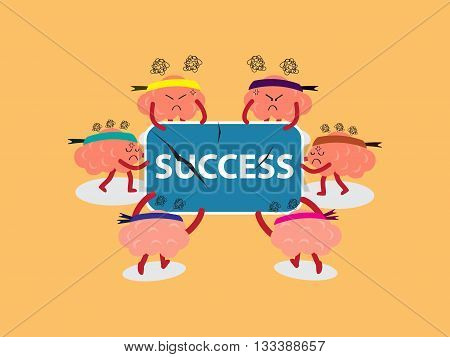 brains cartoon character vector illustration snatching for success board by pulling out with both hands (conceptual image about each person try to snatch to win a success with stress)