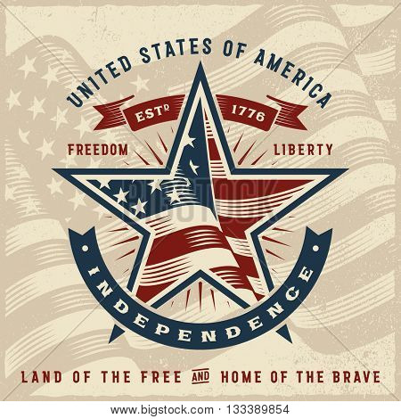 Vintage USA Independence Label. Editable EPS10 vector illustration with clipping mask and transparency.