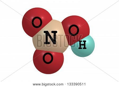 Nitric acid - HNO3 - also known as aqua fortis and spirit of niter is a highly corrosive strong mineral acid. 3d illustration