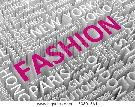 Fashion word with associated terms word cloud concept 3d illustration