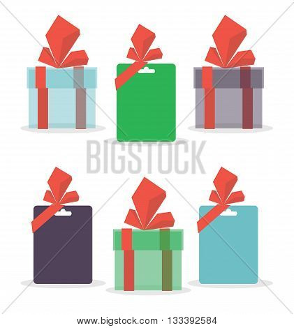 Set of gifts. Vector illustration isolated on white background
