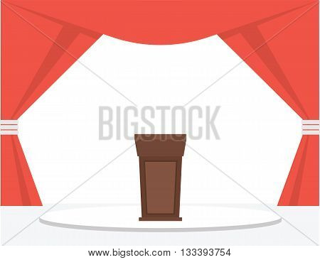 Festive stage podium with red curtains. Vector illustration