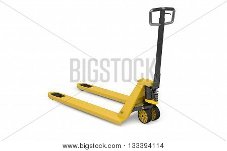Pallet jack isolated on white with clipping path. 3d rendering
