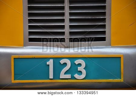 Number Plate With 123 Number