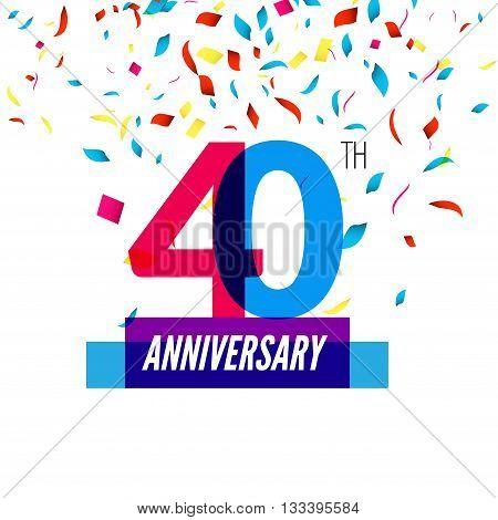 Anniversary design. 40th icon anniversary. Colorful overlapping design with colorful confetti.