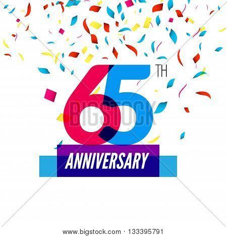 Anniversary design. 65th icon anniversary. Colorful overlapping design with colorful confetti.