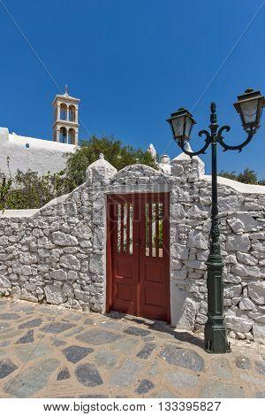 Panoramic view of Panagia Tourliani monastery in Town of Ano Mera, island of Mykonos, Cyclades, Greece