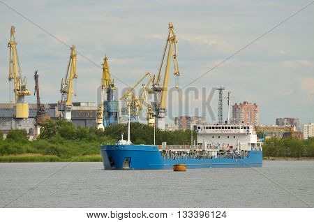 Russia.Saint-Petersburg.The tanker arrived in port to unload their holds.And then load new cargo.