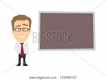 Businessman near board. Vector illustration of manager isolated on white background