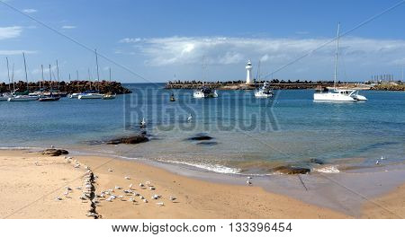 Yacht port at Wollongong. Breakwater Lighthouse at the entrance.