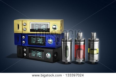 Electronic Cigaretts Device Box Mod To Smokeless Smoking 3D Render On Gradient