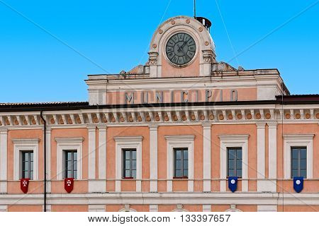 clock of City Hall in Campobasso of Italy