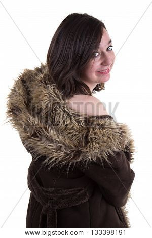 Winter Girl Model In Luxury Clothes And Snowy Furry Hood