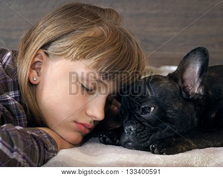 Girl and dog face to face. She sleeps. Friendship girl and dogs. The concept of friendship, love, trust and human animal