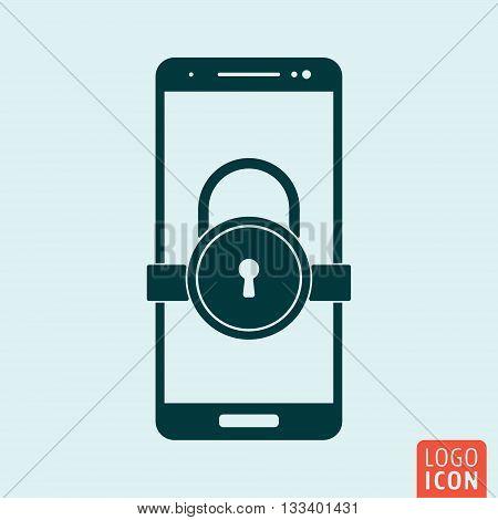 Smartphone lock icon. Secure lock mobile phone symbol. Vector illustration