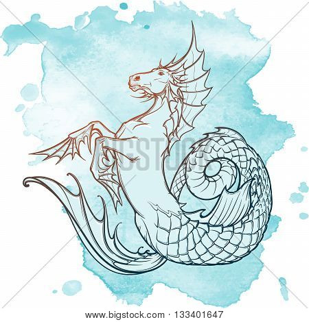 Hippocampus greek mythological creature. Kelpie scottish fairy tale water horse. Vintage tattoo design. Sketch on a grunge background. EPS10 vector illustration. poster