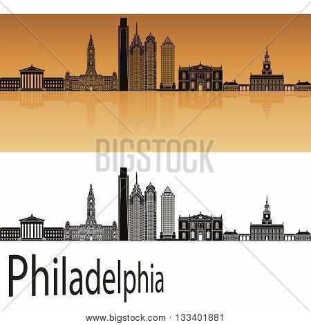 Philadelphia skyline in orange background in editable vector file