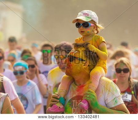 Prague, CZECH REPUBLIC - June 4, 2016: Prague color run 2016. People from all walks of life participated in the run of second year of Prague Color Run.