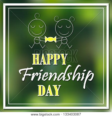 Happy friendship day hand lettering card poster. Vector illustration concept. kids shared a sweet friendship.
