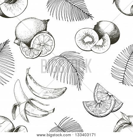 Vector seamles pattern of tropical fruits. Banana peach lemon kiwi and palm leaves in vintage engraved style. Hand drawn exotic organic tasty fruits isolated on white background.