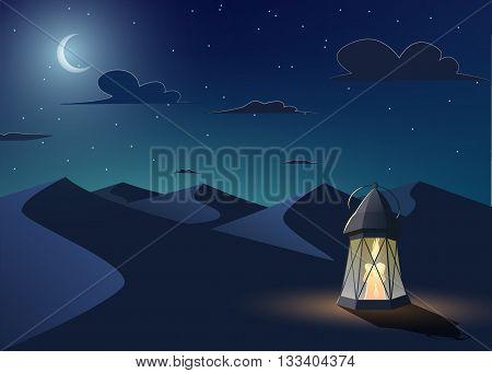 Luminous llantern stands in the desert at night sky with an crescent moon.Cartoon style.Ramadan Kareem vector illustration