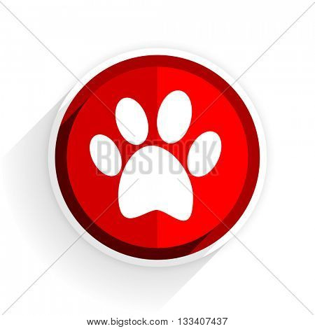 foot icon, red circle flat design internet button, web and mobile app illustration