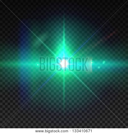 Realistic sun burst with flare. Lens flare illustration isolated on transparent grid.