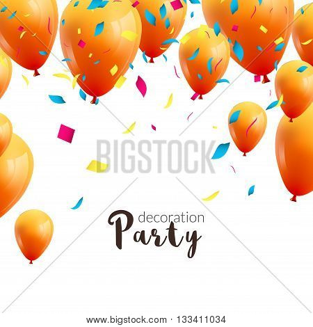 Vector happy birthday card with colorful balloons and confetti, party invitation
