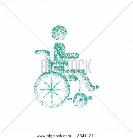 Man in wheelchair silhouette. World day for the disabled logo icon drawn by points.