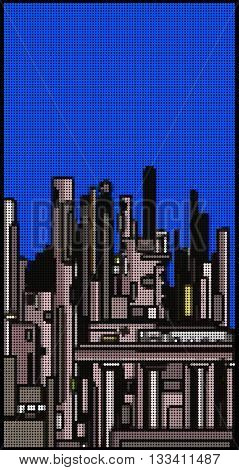 modern city skyline made with bubble pattern