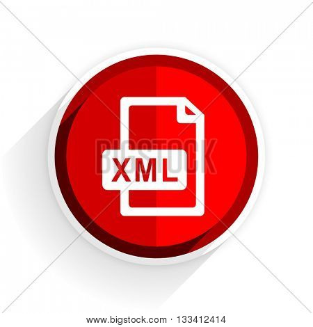 xml file icon, red circle flat design internet button, web and mobile app illustration