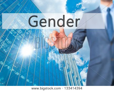 Gender - Businessman Hand Pressing Button On Touch Screen Interface.