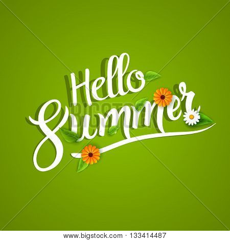 Hello summer lettering typography with flowers on white