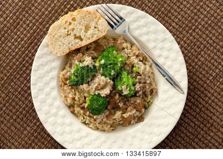 Slow cooked dish with chicken tights rice and broccoli. Shot from above.