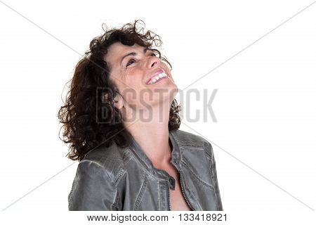 Close Up Portrait Of A Cheerful Woman Laughing Isolated
