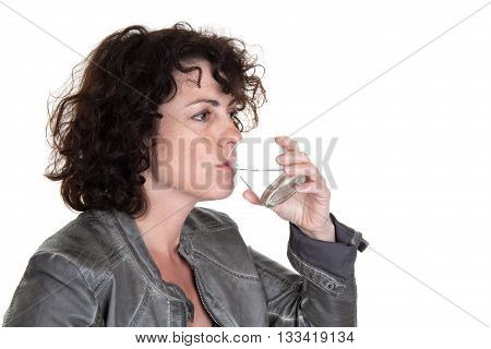 Woman Drinks Water From A Glass Isolated